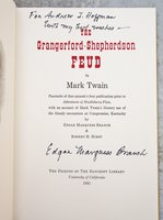 TWAIN'S GRANGERFORD-SHEPHERDSON FEUD a Facsimile SIGNED and INSCRIBED by EDGAR MARQUESS BRANCH by MARK TWAIN, EDGAR MARQUESS BRANCH, ROBERT H. HIRST