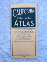 1944 CALIFORNIA HIGHWAY ATLAS: Showing Highways and Roads, County Boundaries, Mileage Between Cities, Detail Maps of Los Angeles Area & San Francisco Bay Area. Thomas Bros. by Thomas Bros.