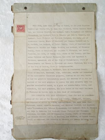 1922 DEED re: PROPERTY in MARYLAND - FLETCHER, LECOMPTE & RELATED FAMILIES