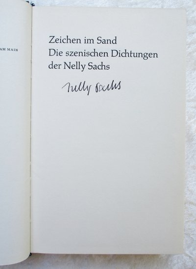 NELLY SACHS *SIGNED* ZEICHEN IM SAND Poems Jewish Holocaust Mystical Poet NOBEL LAUREATE by Nelly Sachs
