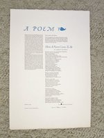 "LAURA RIDING JACKSON - POETRY BROADSIDE - SIGNED PUBLISHER'S COPY ""A POEM"" 1980 by LAURA RIDING JACKSON"