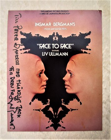 INGMAR BERGMAN **HAND SIGNED & INSCRIBED IN SWEDISH** on a FILM PROMO PHOTO of His Film FACE TO FACE by Ingmar Bergman