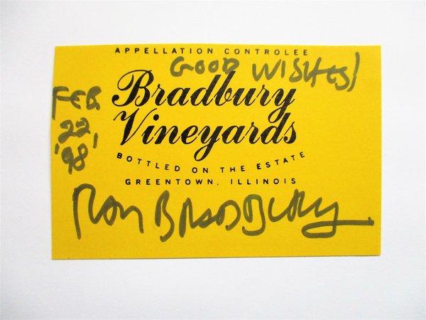 RAY BRADBURY **SIGNED & DATED** BRADBURY VINEYARDS WINE LABEL 1998 by Ray Bradbury
