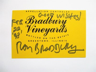 RAY BRADBURY **SIGNED & DATED** BRADBURY VINEYARDS WINE LABEL 1998 by Ray Bradbury