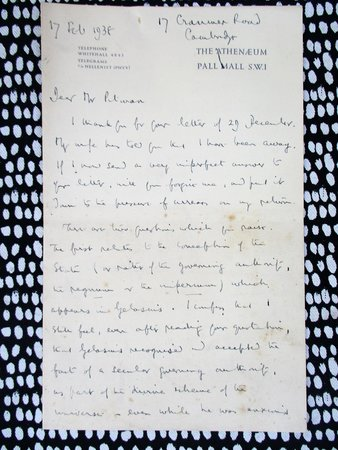 1938 SIR ERNEST BARKER Four Page HANDWRITTEN LETTER by SIR ERNEST BARKER