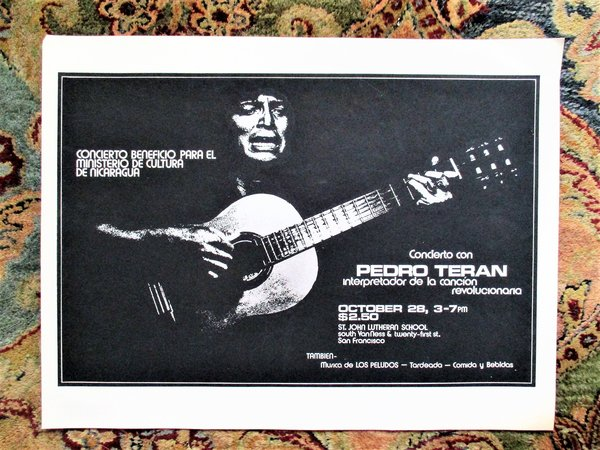 1979 PEDRO TERAN CONCERT POSTER to AID the NICARAGUAN REVOLUTION Concierto con CANCIÓN REVOLUCIONARIA