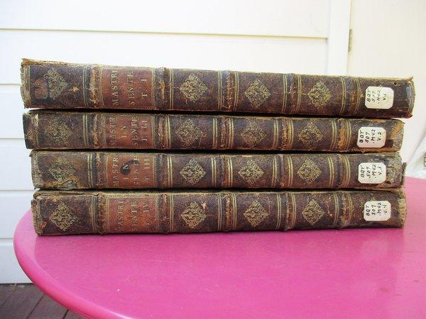 1731 MASTRIUS *4 VOLUME SET* DISPUTATIONES THEOLGICAE / THEOLOGICAL COMMENTARIES by Bartholomæi Mastrii, Batolomeo Mastri, Bartholomaeus Mastirius