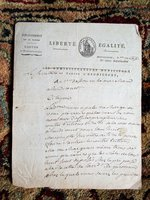 1799 REVOLUTIONARY FRANCE HANDWRITTEN SIGNED OFFICIAL LETTER Canton De Heudicourt