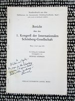 LEONARD STEIN **SIGNED & INSCRIBED** FROM INCEPTION TO REALIZATION IN THE SKETCHES OF SCHOENBERG Musicology 1978 by Leonard Stein