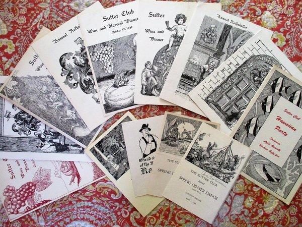 13 SUTTER CLUB Sacramento DINNER DANCE INVITATIONS w/ ART by DR. CHARLES E. VON GELDERN 1953-1959 by Sutter Club