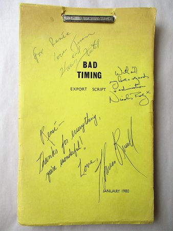 BAD TIMING FILM SCRIPT / SCREENPLAY **SIGNED & INSCRIBED** by NICOLAS ROEG, HARVEY KEITEL, THERESA RUSSELL and JEREMY THOMAS by Nicolas Roeg, Director