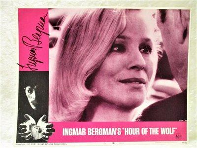 INGMAR BERGMAN **HAND SIGNED** on an Original HOUR OF THE WOLF Film LOBBY CARD 1968 by Ingmar Bergman