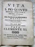 1712 Vellum VITA DI S. PIO QUINTO / LIFE OF POPE PIUS V with RARE FOLDING PLATE