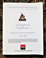 NHL ARIZONA COYOTES - Vintage $100 MILLION PRIVATE PLACEMENT INFORMATION MEMORANDUM BOOK seeking INVESTORS to ACQUIRE the PHOENIX COYOTES HOCKEY TEAM 2000 by SG COWEN SECURITIES CORPORATION