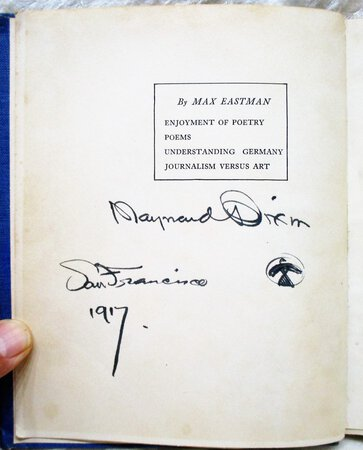 MAYNARD DIXON SIGNED & DATED + ICONIC DRAWING in Book also SIGNED by MAX EASTMAN by Max Eastman
