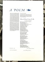 1980 LAURA RIDING JACKSON - POETRY BROADSIDE **SIGNED** Her First POEM in 40 Years #66 of only 150 copies by Laura Riding Jackson