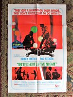 1967 IN THE HEAT OF THE NIGHT Original 1 SHEET Film POSTER Rod STEIGER Sidney POITIER