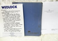 "BRODERICK MILLER Original SCREENPLAY ""WEDLOCK"" SIGNED & INSCRIBED + HANDWRITTEN LETTER + Original Unproduced FILM TREATMENT ""NAPA"" by Broderick Miller"