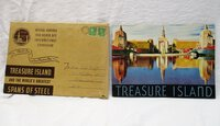 1939 GOLDEN GATE INTERNATIONAL EXPOSITION SOUVENIR BOOKLET : TREASURE ISLAND and the WORLD'S GREATEST SPANS OF STEEL with Original Mailing Envelope
