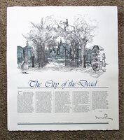 WALKER PERCY **SIGNED** CITY OF THE DEAD / NEW ORLEANS Large Engraved BROADSIDE 1/100 Printer's Copy LOVELY by Walker Percy