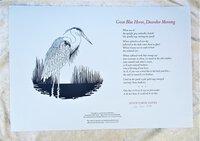 "JOYCE CAROL OATES Broadside GREAT BLUE HERON ""Presentation Copy"" SIGNED Limited Edition 1/126 by Joyce Carol Oates"