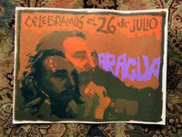 1979 NICARAGUA / CUBA REVOLUTION POSTER *CELEBRAMOS EL 26 DE JULIO* FIDEL CASTRO