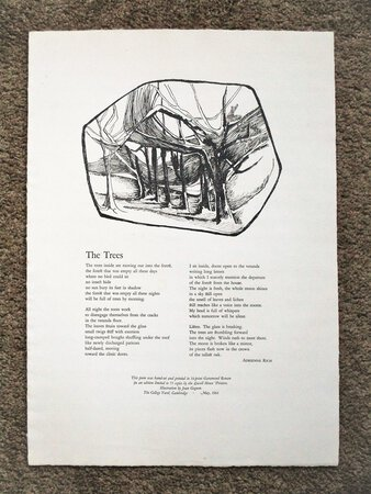 """ADRIENNE RICH BROADSIDE POEM """"THE TREES"""" 1 of 75 LOWELL HOUSE PRINTERS The College Yard, Cambridge 1964 by Adrienne Rich"""
