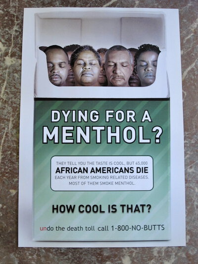 DYING FOR A MENTHOL? Rare DEAD PEOPLE CIGARETTE PACK Anti Smoking POSTER African American Ad Campaign