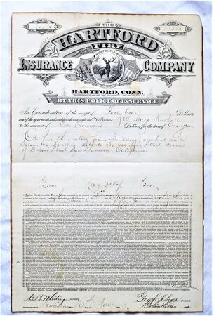 1883 Original FIRE INSURANCE POLICY for a SALOON in SAN FRANCISCO at 600 PINE STREET