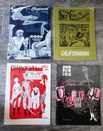 4 Issues STANFORD CHAPARRAL 1953-55 Sin In San Francisco, Soviet Spouse Exchange, Science Friction Issue, France Ooh La La by The Chappies