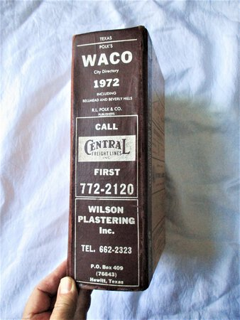 1972 Original WACO, TEXAS, CITY DIRECTORY with EVERY RESIDENT & BUSINESS