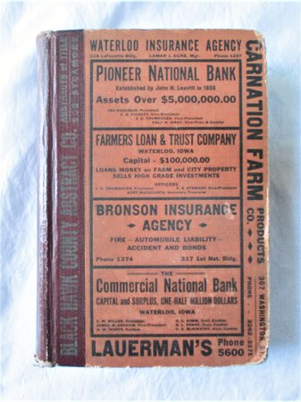 1930 Original WATERLOO and BLACKHAWK COUNTY DIRECTORY all RESIDENTS & BUSINESSES