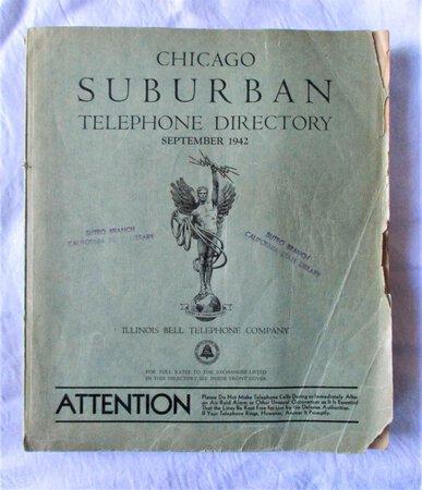 1942 Original CHICAGO SUBURBAN TELEPHONE DIRECTORY Suburbs of Chicago Illinois