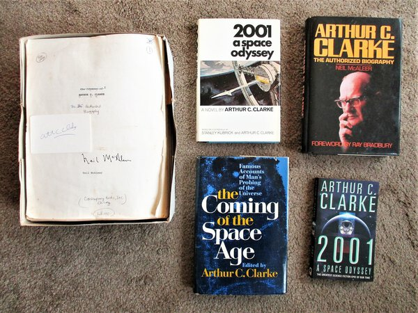 ARTHUR C. CLARKE Collection MANUSCRIPT BIOGRAPHY + FOUR BOOKS SIGNED & INSCRIBED by Arthur C. Clarke, Neil McAleer