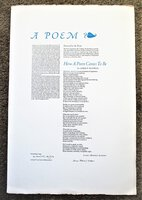 1980 LAURA RIDING JACKSON Poetry Broadside SIGNED & INSCRIBED to HERB YELLIN, Lord John Press by Laura Riding Jackson
