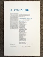 1980 LAURA RIDING JACKSON - POETRY BROADSIDE **SIGNED** Her First POEM in 40 Years #23 of only 150 copies by Laura Riding Jackson