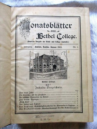 24 Issues 1903-1904 MONATSBLÄTTER AUS BETHEL COLLEGE, KANSAS (Monthly Journal of Bethel College, Kansas) TEXT in GERMAN FRAKTUR