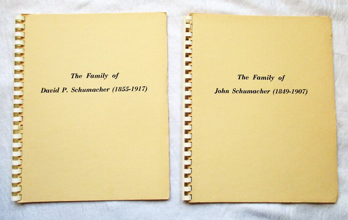 Two Genealogies - FAMILY of JOHN SCHUMACKER plus FAMILY of DAVID P. SCHUMACKER by Jane Louise Smoker Davidson