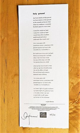 """ANJANI & LEONARD COHEN a BROADSIDE of the Lyrics to Their Song """"HOLY GROUND"""" SIGNED by ANJANI #49 of 100 by Anjani and Leonard Cohen"""