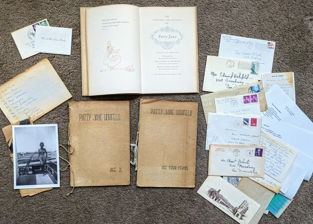 1960 ARCHIVE related to a Book PRINTED BY LAWTON KENNEDY, PRINTER for the HOHFELD FAMILY of SAN FRANCISCO with TWO HAND-DRAWN HAND-ILLUSTRATED BOOKS, Letters, and Ephemera by Lillian Devendorf Hohfeld, Jane Hohfeld Galante