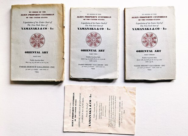 THREE AUCTION CATALOGS of SEIZED JAPANESE-AMERICAN PROPERTY of YAMANAKA & CO. of NEW YORK Confiscated by the U.S. Government & Sold at Auction 1944