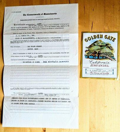 "1947 ""GOLDEN GATE ZINFANDEL"" WINE LABEL TRADEMARK Document & Label"