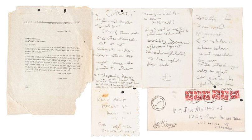 LENNY BRUCE - HANDWRITTEN NOTES & TYPED LETTER to HIS ATTORNEY re HEROIN TRIAL by Lenny Bruce