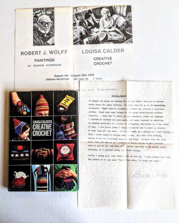 LOUISA CALDER SIGNED & INSCRIBED FIBER ARTS BOOK with ALEXANDER CALDER DESIGNS + SIGNED LETTER Laid-In by Louisa Calder