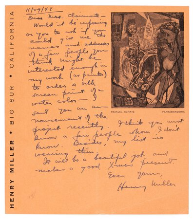 1948 HENRY MILLER HANDWRITTEN LETTER to a WOMAN re: HIS ART LITHOGRAPHS Big Sur, California by Henry Miller