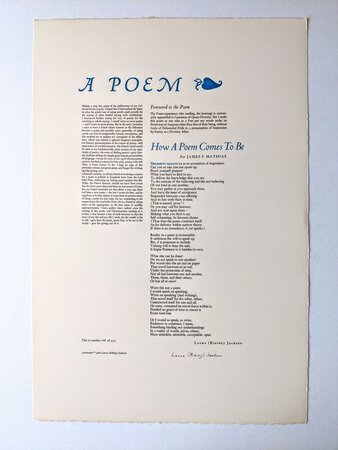 1980 LAURA RIDING JACKSON - POETRY BROADSIDE **SIGNED** Her First POEM in 40 Years #109 of only 150 copies by Laura Riding Jackson