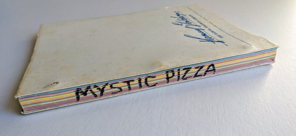 MYSTIC PIZZA Original DRAFT SCREENPLAY / SCRIPT Multi-Color Pages in SAMUEL GOLDWYN COVERS Julia Roberts' Second Film, Matt Damon's First Film 1987 by Amy Jones, Randy and Perry Howze, and Alfred Uhry