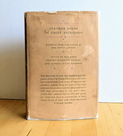 """1929 EMILY DICKINSON """"FURTHER POEMS"""" First Edition INSCRIBED and with a laid-in HANDWRITTEN LETTER by the Editor, Emily Dickenson's Niece, MARTHA DICKINSON BIANCHI by EMILY DICKINSON, edited by MARTHA DICKINSON BIANCHI"""