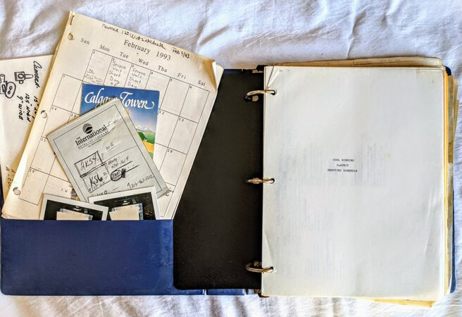 COOL RUNNINGS Working SCREENPLAY Multi-Color Revision Pages with HANDWRITTEN NOTES plus Original DRAWINGS, DOCUMENTS and More, COPY of FILM'S SECOND UNIT DIRECTOR OF PHOTOGRAPHY by Tommy Swerdlow and Michael Goldberg, Rexford L. Metz, et al